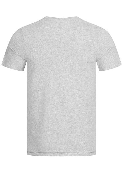 Jack and Jones Herren T-Shirt Slim Fit mit Logo Print hell grau melange rot