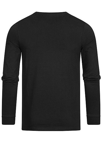 Jack and Jones Herren 2-Tone Longsleeve leichter Pullover Logo Streifen schwarz grau