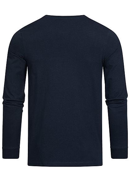 Jack and Jones Herren 2-Tone Longsleeve leichter Pullover Logo Streifen blazer navy blau