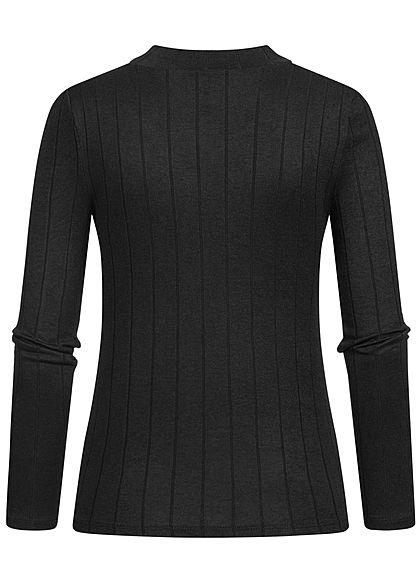 Hailys Damen High-Neck Viskose Longsleeve Pullover mit asym. Streifen schwarz