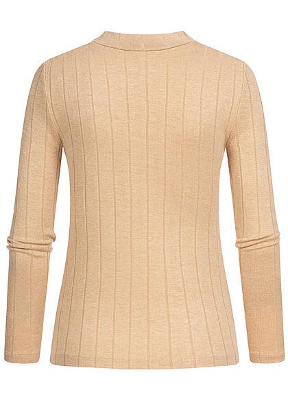 Hailys Damen High-Neck Viskose Longsleeve Pullover mit asym. Streifen beige