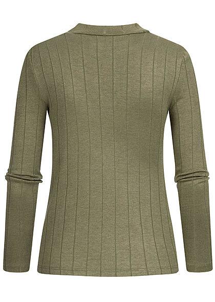 Hailys Damen High-Neck Viskose Longsleeve Pullover mit asym. Streifen kahki grün