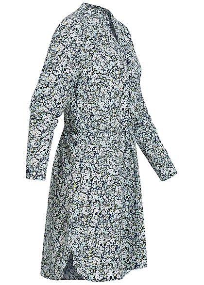 ONLY Damen NOOS V-Neck Krepp Tunika Kleid Taillenzug Blumen Muster navy blau weiss