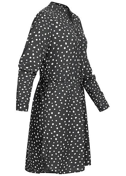 ONLY Damen NOOS V-Neck Krepp Tunika Kleid Taillenzug Punkte Muster schwarz weiss