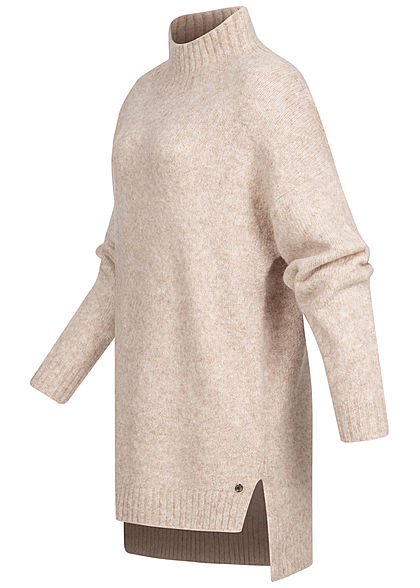 Tom Tailor Damen High-Neck Oversized Longform Sweater Strickpullover beige melange