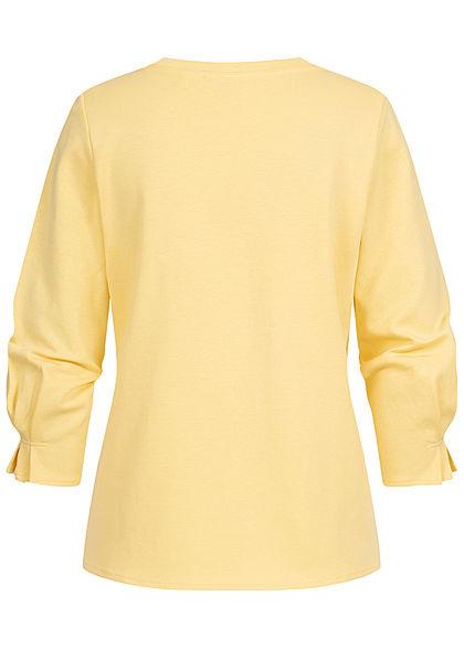 Tom Tailor Damen 7/8 Arm Pullover Longsleeve mit Schleifendetails honey popcorn