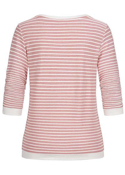 Tom Tailor Damen leichter 3/4 Arm Pullover Sweater mit Strukturstreifen rosa weiss