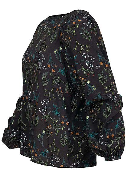 Tom Tailor Damen Langarm Krepp Bluse mit Pufferärmeln Floraler Print schwarz multi