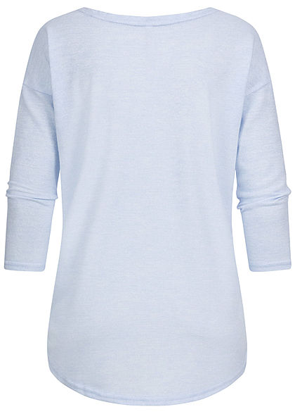 Hailys Damen 3/4 Arm Vokuhila Shirt Soft-Touch unicolor hellblau melange