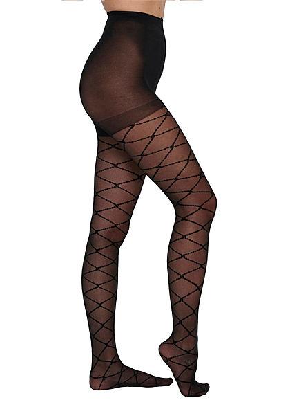 ONLY Damen Strumpfhose 20 Denier Gummibund Karo Muster schwarz