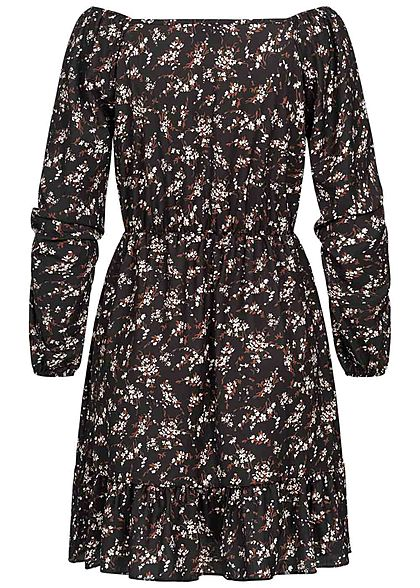Fresh Lemons Damen Langarm Mini Kleid Blumen Print Taillengummibund schwarz braun