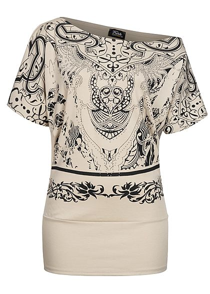 Fresh Lemons Damen One Shoulder Fledermausarm Shirt Print mit Strasssteinen beige - Art.-Nr.: 20115450