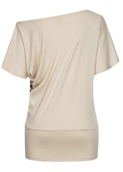 Fresh Lemons Damen One Shoulder Fledermausarm Shirt Print mit Strasssteinen beige