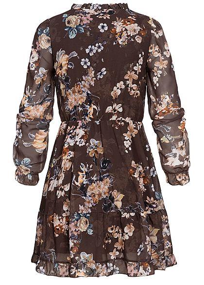 Fresh Lemons Damen V-Neck Mini Chiffon Kleid 2-lagig Blumen Print braun