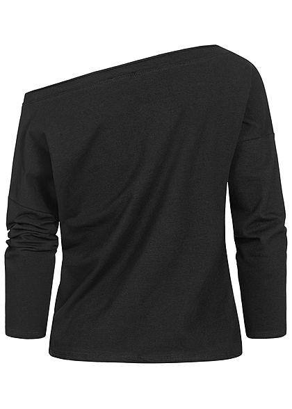 Fresh Lemons Damen One Shoulder Pullover Sweater mit Leo Print schwarz