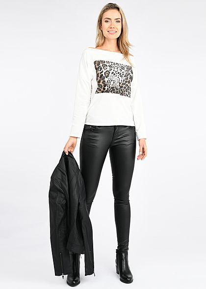 Fresh Lemons Damen One Shoulder Pullover Sweater mit Leo Print weiss