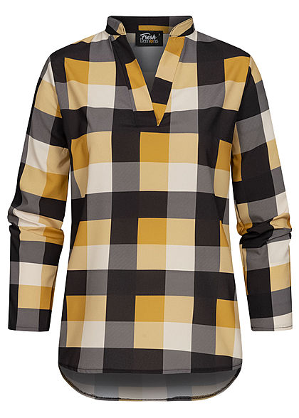 Fresh Lemons Damen V-Neck Turn-Up Bluse Karo Muster gelb schwarz weiss