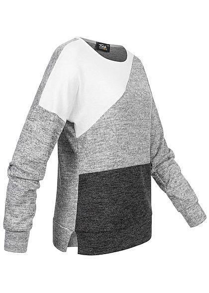 Fresh Lemons Damen Zick Zack Colorblock Pullover Sweater weiss hell grau dunkel grau