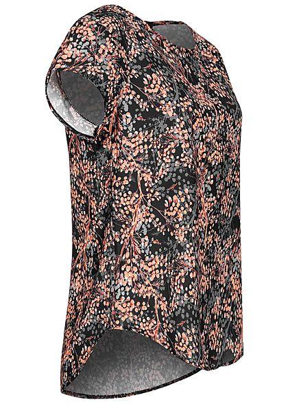 Fresh Lemons Damen Kurzarm Struktur Bluse AOP Baum Print Zipper hinten schwarz rose