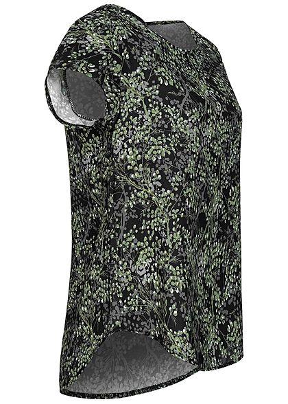 Fresh Lemons Damen Kurzarm Struktur Bluse AOP Baum Print Zipper hinten schwarz grün