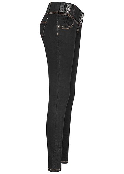 Seventyseven Lifestyle Damen Skinny Jeans Hose 4-Pockets inkl. Gürtel schwarz denim