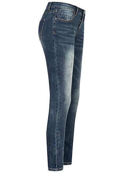 Seventyseven Lifestyle Damen Skinny Jeans Hose 5-Pockets Regular Waist med. blau denim