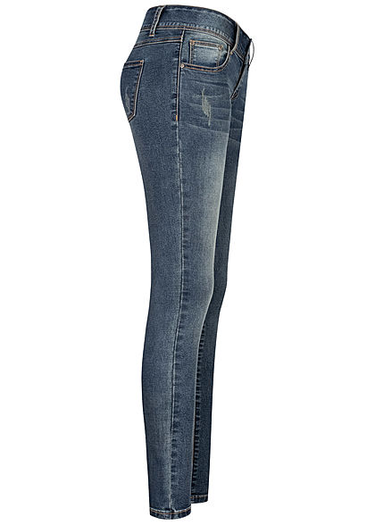 Seventyseven Lifestyle Damen Skinny Jeans Hose 5-Pockets Crash Optik blau denim