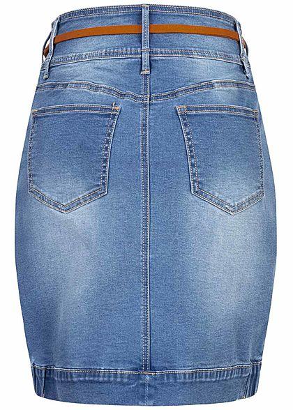 Seventyseven Lifestyle Damen Jeans Rock 4-Pockets Gürtel 3er Knopfleiste blau denim