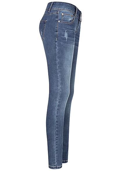 Seventyseven Lifestyle Damen Skinny Jeans Hose 5-Pockets Crash Optik hell blau denim