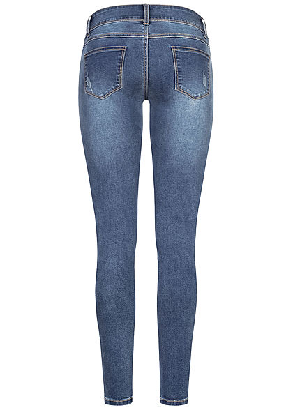 Seventyseven Lifestyle Damen Skinny Jeans Hose 5-Pockets Crash Optik hell blau denim