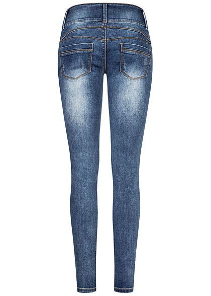 Seventyseven Lifestyle Damen Skinny Jeans Hose 5-Pockets Heavy Destroy medium blau den