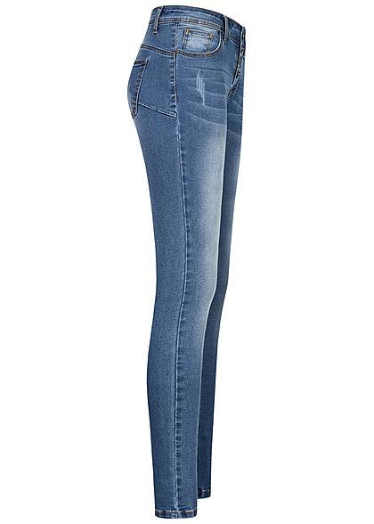 Seventyseven Lifestyle Damen Skinny Jeans Hose 5-Pockets Knopfleiste hell blau denim