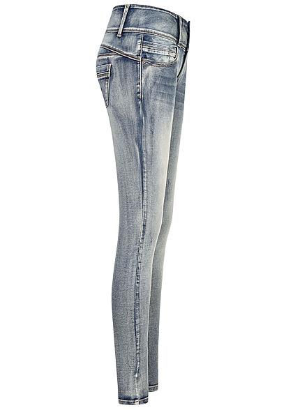 Seventyseven Lifestyle Damen Skinny Jeans Hose 5-Pockets breiter Bund dirty wash blau