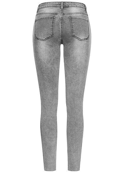 Seventyseven Lifestyle Damen Skinny Jeans Hose 5-Pockets Knopfleiste Destroy Look grau