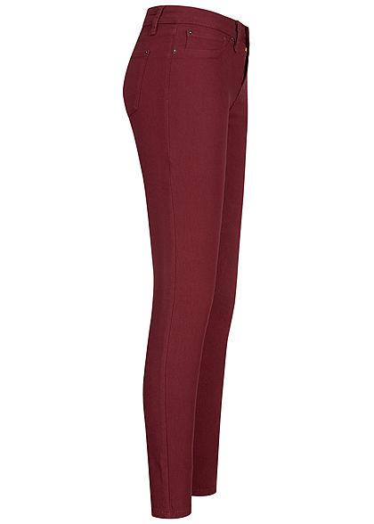 Seventyseven Lifestyle Damen Skinny Jeggings Hose 2 Deko Taschen High-Waist wine rot