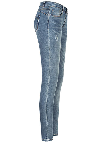 Seventyseven Lifestyle Damen Skinny Jeans Hose 5-Pockets Basic Style washed blau denim