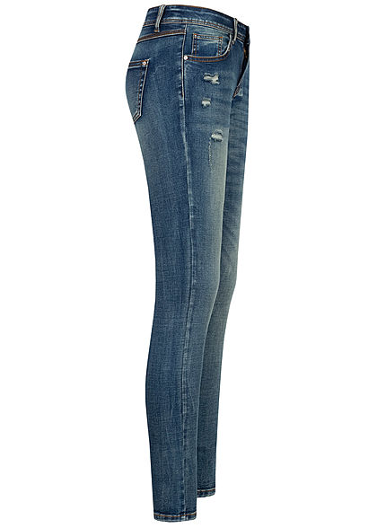 Seventyseven Lifestyle Damen Skinny Jeans Hose 5-Pockets Destroy Look blau denim