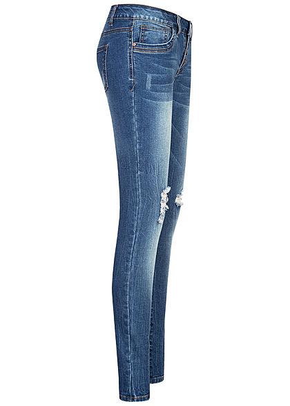 Seventyseven Lifestyle Damen Skinny Jeans Hose 5-Pockets Knopfleiste Destroy Look blau