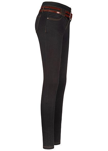 Seventyseven Lifestyle Damen Skinny Jeans Hose 5-Pockets Gürtel schwarz denim
