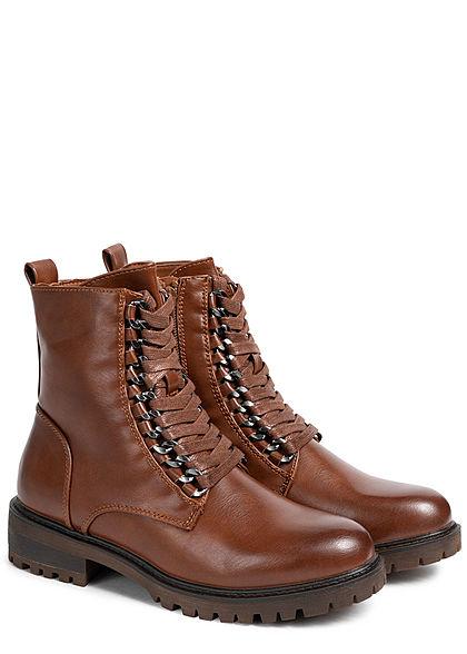 Seventyseven Lifestyle Damen Schuh Kunstleder Boots Schnürhalbstiefel braun