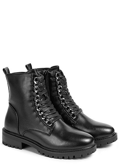 Seventyseven Lifestyle Damen Schuh Kunstleder Boots Schnürhalbstiefel schwarz