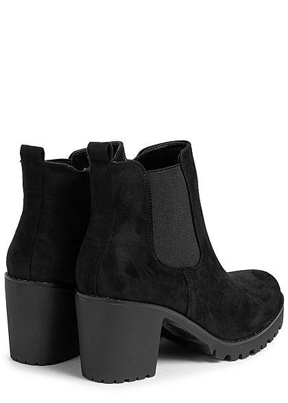 Seventyseven Lifestyle Damen Schuh Kunstleder Stiefelette Velouroptik schwarz