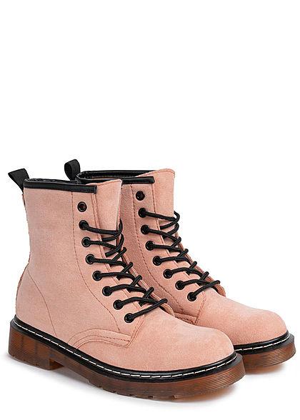 Seventyseven Lifestyle Damen Schuh Workerboots Velouroptik Schnürstiefel Zipper rosa pink