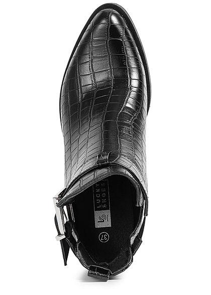 Seventyseven Lifestyle Damen Schuh Kunstleder Stiefelette Schlangenhautoptik schwarz