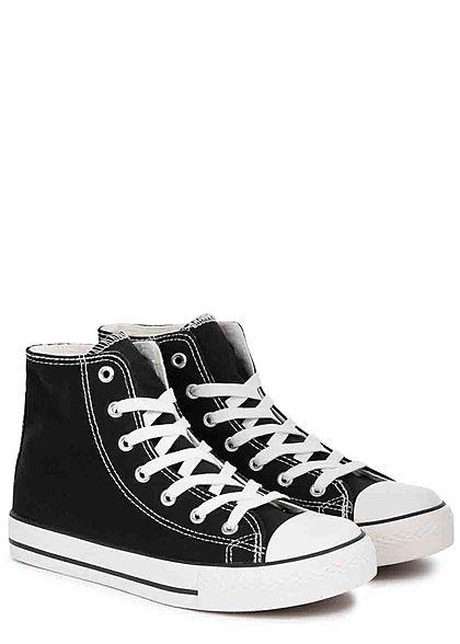 Seventyseven Lifestyle Damen Schuh High Canvas Sneaker schwarz