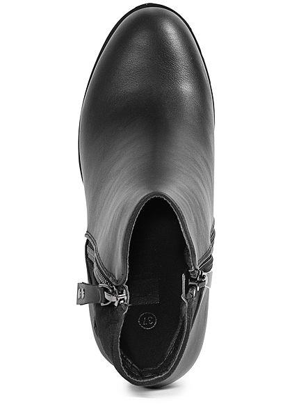Seventyseven Lifestyle Damen Schuh Kunstleder Stiefelette Zipper Materialmix schwarz