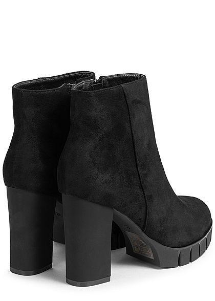 Seventyseven Lifestyle Damen Schuh Stiefelette Velouroptik Absatz 9,5cm schwarz