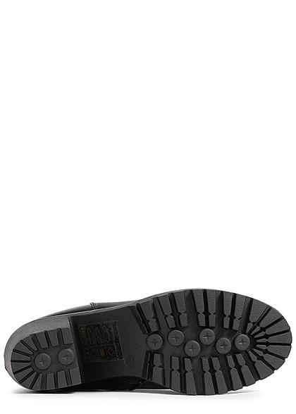 Seventyseven Lifestyle Damen Schuh Kunstleder Stiefelette Absatz 7cm Zipper schwarz