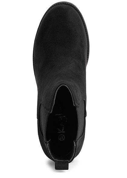 Seventyseven Lifestyle Damen Schuh Stiefelette Velouroptik Absatz 7cm Zipper schwarz