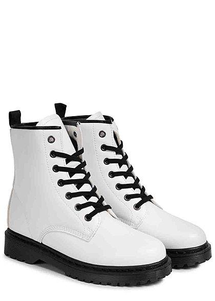 Seventyseven Lifestyle Damen Schuh Kunstleder Worker Boots Schnürhalbstiefel weiss